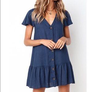One left❣️Navy Blue Button Down Ruffle Trim Dress